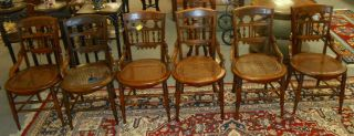 "Set of 4 Antique Mahogany Cane Bottom Chairs Set of 4 Antique East Lake Mahogany, Cane Bottom Dining Chairs. Each measures 34-1/2"" tall x 18"" wide. Condition is very good. No Damage. 2 Additional Chairs included if wanted but damaged cane bottoms. Starting Bid $50 for all 4. Auction Estimate $60 - $70."