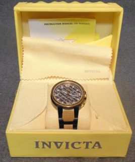 Mens Invicta Specialty Collection Infinity Wrist Watch 3756 NEW Invicta Mens Specialty Collection Infinity Black and Gold Tone Chronograph Wrist Watch. Model#3756. Brand New in the Original Box. Swiss-Quartz movement. Stainless-steel case with Black dial, Date function and Chronograph functions. Water resistant to 330 feet. Includes Yellow Invicta Box. Condition is New, Mint. Never Worn. No Damage. $5000 Retail Price. Starting Bid $50. Auction Estimate $250 - $350.