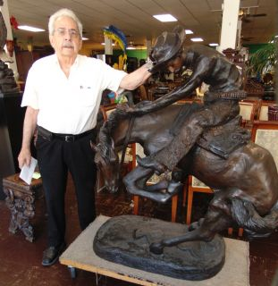 """Giant Size Bronze Remington Rattlesnake Giant Size Bronze """"Rattlesnake"""" Sculpture after Frederick Remington. High Quality Bronze with excellent Detail. Bronze may be used indoor or outdoor. Measures 55"""" tall x 45"""" wide x 30"""" deep. This Sculpture is made entirely from Bronze. Condition is New, Mint. No Damage."""