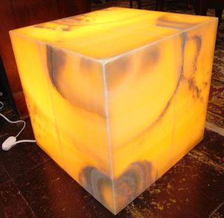 """Contemporary Onyx Stone Backlit Pedestal Cube Contemporary Onyx Stone Backlit Pedestal Cube. Art Deco Style. Measures 16"""" tall x 16"""" wide x 16"""" deep. Condition is New, Mint. No Damage. Several Shipping Options Available. Starting Bid $150. Auction Estimate $200 - $250."""