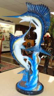 "Bronze Sailfish & Marlin Sculpture on Marble Base Large Bronze Sailfish & Marlin Sculpture on a Black Marble Base. Measures 46"" tall x 24"" wide. Condition is very good with minimal wear. No damage. Several Shipping Options Available. Starting Bid $500. Auction Estimate $750 - $900."