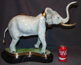 "Bronze Sculpture of an Elephant Polychrome Painted Bronze Sculpture of an Elephant on a Black Marble Base. Artist signed and numbered 22 of 50. Measures 18"" tall x 25"" Long. Condition is New, Mint. No Damage. This Sculpture is made entirely from Bronze with a Marble Base. Starting Bid $350. Auction Estimate $450 - $500."