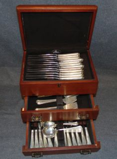 """Gorham """"Fairfax"""" Sterling Silver Flatware Set Gorham """"Fairfax"""" Sterling Silver Flatware Set. 73 pieces. Aprox 65 oz. of Sterling Silver. Box included. Set consists of 12 Forks, 12 Salad Forks, 12 Knives, 12 Tea Spoons, 12 Soup spoons, 12 Butter Knives & 1 Serving Spoon. Overall condition is good with minor wear. Starting Bid $500. Auction Estimate $800 - $1,100."""