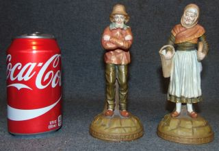 """2 Antique Ernst Wahliss Turn Wein Figures Austria 2 Antique Ernst Wahliss Turn Wein Figures. Circa 1900 Austria. Each measures 6-1/2"""" tall. Bottoms are marked. Overall condition is Excellent. No Damage. Starting Bid $80. Auction Estimate $100 - $120."""