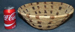 "Vintage Native American Reed Bowl Vintage Native American Reed Bowl. Measures 12"" wide x 5"" tall. Condition is very good with minimal wear. No damage. Several Shipping Options Available. Starting Bid $20. Auction Estimate $30 - $150."