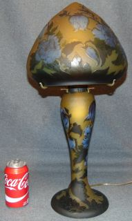"""Galle Style Cameo Glass Table Lamp Beautiful Galle Style Cameo Glass Table Lamp. Measures 22"""" tall x 11"""" wide. Signed Galle. Condition is Excellent. No Damage. Several Shipping Options Available. Starting Bid $500. Auction Estimate $550 - $700."""