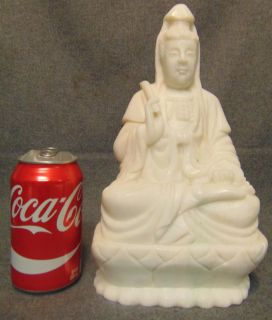 "White Jade Stone Quan Yin Sculpture White Jade Stone Quan Yin Sculpture. She measures 11"" tall x 6-1/2"" wide. Condition is Excellent, Mint. No Damage. Several Shipping Options Available. Starting Bid $200. Auction Estimate $250 - $300."