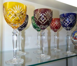 "6 Multi-Color Bohemian Cut to Clear Crystal Wine Glasses Beautiful Set of 6 Multi-Color Bohemian Cut to Clear Crystal Wine Glasses. Heavy and high quality European Leaded Crystal. Each measures 8-1/2"" tall. Condition is New, Mint. No Damage. Includes Fitted and lined Gift Box. Several Shipping Options Available. Starting Bid $180 for all 6. Auction Estimate $200 - $250."