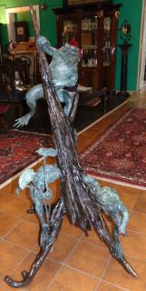 "Bronze 3 Frogs on a Log Fountain Sculpture Spectacular Bronze 3 Frogs on a Log Fountain Sculpture. This sculpture functions as a fountain feature as well. High Quality Bronze with excellent Detail and various shades of patina. Bronze may be used indoor or outdoor. Stands 49"" tall x 34"" wide. Condition is New, Mint. No Damage. Several Shipping Options Available. Starting Bid $900. Auction Estimate $1,000 - $1,250."