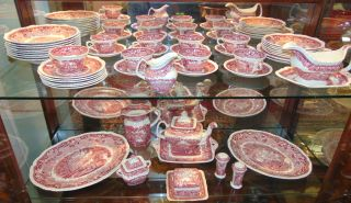 "49 pieces Mason's English Red Transferware Dish Set Collection of Vintage ""Mason's"" English Red & White Transferware Dishes. 49 pieces. Vista Pattern. Overall condition is very good. Some ware. Several Shipping Options Available. Starting Bid $250. Auction Estimate $300 - $350."