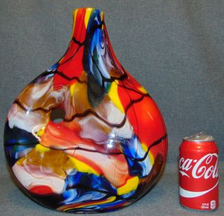 """Multi Color Art Glass Vase  Fabulous Multi Color Art Glass Vase. Measures 14-1/4"""" tall x 12"""" wide. Condition is Like New. Very good. No Damage. Several Shipping Options Available. Starting Bid $80. Auction Estimate $100 - $150."""
