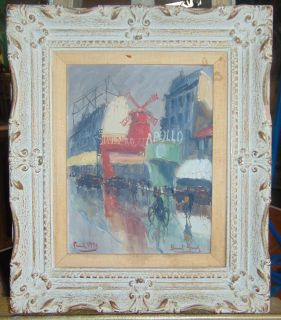 """Vintage Oil Painting Moulin Rouge 1954 Paris Vintage, Framed Oil Painting of Moulin Rouge and Apollo Street Scene, Paris. Artist signed and date 1954. Frame measures 21-1/2"""" tall x 18"""" wide. Condition is good with some stain on matting. Also small chip in frame. No Damage. Several Shipping Options Available. Starting Bid $150. Auction Estimate $160 - $250."""