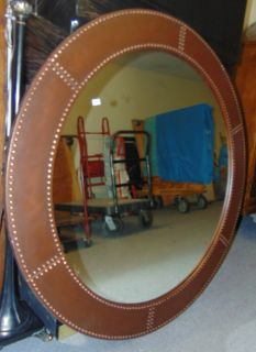 """Decorators Round Iron Wall Mirror Large, Decorators Round Iron Wall Mirror. Measures 48"""" round. Very heavy. Condition is good with minimal wear. No damage. Several Shipping Options Available. Starting Bid $150. Auction Estimate $200 - $250."""