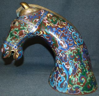 """Large Vintage Chinese Cloisonne Horse Head Bust Large Vintage Chinese Cloisonne Horse Head Bust. Measures 13"""" tall. Condition is very good with minimal wear. No damage. Several Shipping Options Available. Starting Bid $150. Auction Estimate $200 - $250."""