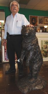 "Large Bronze Standing Bear Sculpture Large, Bronze Standing Bear Sculpture. Excellent, High Quality Detail. Measures 46"" tall. This Sculpture is made entirely from Bronze. Condition is New, Mint. No Damage. Several Shipping Options Available. Starting Bid $1,500. Auction Estimate $1,600 - $1,750."