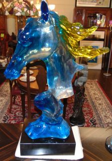"Multi Color Acrylic Horse Head Sculpture Large, Multi Color Acrylic Horse Head Sculpture. Beautiful Clear,Yellow and Blue tinted Acrylic on a thick Black Marble Base. Unsigned. Measures 36-3/4"" tall. Marble base measures 4"" tall x 14"" wide x 12"" deep. Condition is New, Mint. No Damage. Several Shipping Options Available. Starting Bid $1,500. Auction Estimate $1,600 - $1,800."