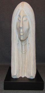 """Austin Prod Inc. Sculpture by R Coma 1986  Austin Prod. Inc. Bust Sculpture of a Woman. Signed """"R Coma"""" and Dated 1986. Measures 21-1/2"""" tall x 9-1/2"""" wide x 12-1/2"""" deep. Condition is very good with minimal wear. No damage. Starting Bid $50. Auction Estimate $60 - $80."""