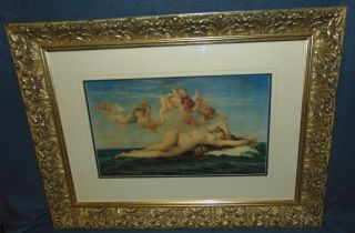 "Alexandre Cabanel Print ""La Naissance de Venus"" Lovely Framed & Matted Alexandre Cabanel Print under glass. Titled ""La Naissance de Venus"" or The Birth of Venus. Frame measures 25-1/2"" tall x 34"" wide. Condition is good. No damage. Several Shipping Options Available. Starting Bid $50. Auction Estimate $60 - $80."