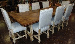 "Rustic Dining Table & 8 Chairs Awesome, Rustic Dining Table & 8 Upholstered Dining Chairs. Table measures 66"" long x 42"" wide x 30"" tall. Additionally 2 leaves 18"". Total of 102"" long. Chairs are all 42"" tall x 20"" wide x 20"" deep. Condition is very good to excellent. No Damage. Several Shipping Options Available. Starting Bid $950. Auction Estimate $1,000 - $1,250."