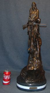 """Bronze """"Mountain Man"""" Sculpture after Frederick Remington Western Bronze """"Mountain Man"""" Sculpture after Frederick Remington on a Triple Marble Base. Signed. Very Heavy Piece. This Sculpture is made entirely from Bronze with a Marble Base. Measures 29-1/2"""" tall. Condition is New, Mint. No Damage. Several Shipping Options Available. Starting Bid $400. Auction Estimate $450 - $550."""
