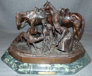 "Nicolas Liberich ""Hunting Party"" C. F. Woerffel Bronze  Antique Russian Bronze Sculpture on a Marble Base after Nicolas Ivanovich Liberich (1828-1883). Titled ""Hunting Party"". Signed and has ""C.F. Woerffel"" & ""St.Petersburg"" Foundry Marks. Measures 11"" tall x 18"" wide x 14"" deep. Weight is over 50 lbs. Overall condition is good. Wear consistent with age. Several Shipping Options Available. Starting Bid $4,000. Auction Estimate $4,500 - $5,500."