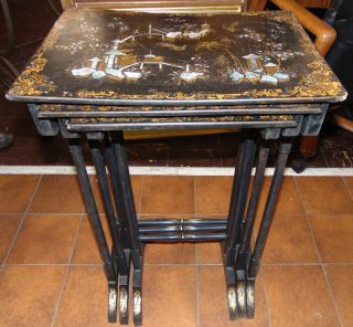 "Vintage Set of 3 Nesting Tables Mother of Pearl Vintage Set of 3 Nesting Tables with Mother of Pearl. Largest measures 29"" tall x 18"" wide x 13"" deep. Overall condition is good. Wear consistent with age and use. Several Shipping Options Available. Starting Bid $250. Auction Estimate $300 - $350."
