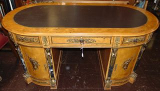"Egyptian Classic Revival Desk Beautiful Egyptian Classic Revival Desk with Marble & Bronze Mounts and Leather Top. Egyptian made desk in the neoclassical revival style, complete with ormolu neoclassical figures and heads, marble columns. Measures 32"" tall x 69"" wide x 35"" deep. Overall condition is Excellent. No Damage. Several Shipping Options Available. Starting Bid $450. Auction Estimate $500 - $600."