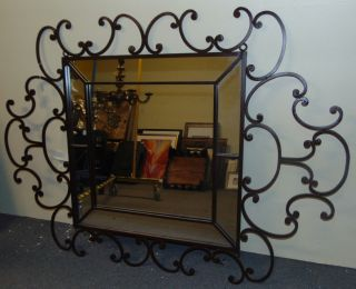 "Decorative Wrought Iron Wall Mirror Decorative and Heavy, Wrought Iron Wall Mirror. Nice Scroll Work. Can hang either way. Measures 66"" x 47"". Overall condition is very good. Several Shipping Options Available. Starting Bid $80. Auction Estimate $80 - $100."
