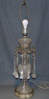 "Vintage Cut Crystal Table Lamp Vintage Cut Crystal Table Lamp. Works. Measures 35"" tall. No shade. Overall condition is good with minor wear. Starting Bid $80. Auction Estimate $100 - $120."