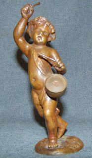 """Antique Bronze Sculpture """"Claude Michel Clodion"""" signed Antique Bronze Drummer Boy Musician by """"Claude Michel Clodion"""" (1738-1814). Claude Michel Clodion was a French Rococo sculptor. Noted for his versatility as an artist and for the lively charm of his figures, which included Grecian nymphs, cherubs, and gods. Artist Signed. Beautiful, Original Patina. He stands 8-1/2"""" tall. Excellent condition. No damage. Starting Bid $200. Auction Estimate $220 - $300."""