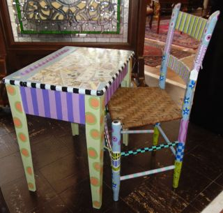 "Painted Child's Desk & Chair Painted Child's Desk & Chair. Measures 24"" tall x 22"" wide x 19"" deep. Condition is very good with some minor wear and scratches. Several Shipping Options Available. Starting Bid $70. Auction Estimate $80 - $100."