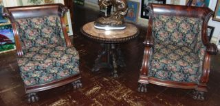 """Pair (2) Antique Empire Mahogany Chairs 2 Antique Empire Style, His and Hers, Carved Mahogany Parlour Chairs. Circa 1880-1900. Beautiful, newer Upholstery. His measures 35"""" tall x 30"""" wide. Hers measures 35"""" tall x 26"""" wide. Condition is very good. No Damage. Several Shipping Options Available. Starting Bid $800. Auction Estimate $900 - $1,000."""