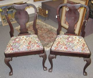 """2 Antique Mahogany Side Chairs Tapestry Needlepoint  Pair (2) of Antique Queen Anne Carved Mahogany Side Chairs or Dining Chairs with Beautiful Tapestry Needlepoint Seats. Classic and high quality carving. Each stands 37-1/2"""" tall x 23"""" wide. Condition is good with typical surface scratches from age. No damage. Several Shipping Options Available. Starting Bid $100. Auction Estimate $120 - $150."""