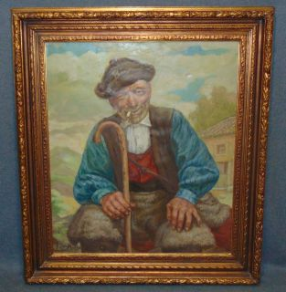 """Signed Vintage Oil Painting of Old Man Vintage Oil on Canvas Painting of Old Man. Artist Signed. Frame measures 37"""" tall x 33"""" wide. Condition is very good with minimal wear. No damage. Several Shipping Options Available. Starting Bid $200. Auction Estimate $250 - $400."""