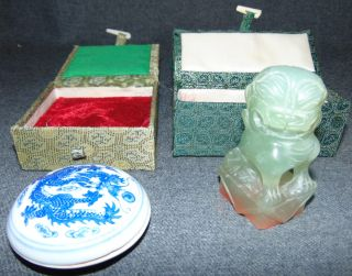 Chinese Carved Stone Foo Dog Seal and Ink Chinese Carved Stone Foo Dog Seal and Ink in Fitted Boxes. Condition is very good. No Damage. Starting Bid $40. Auction Estimate $40 - $50.