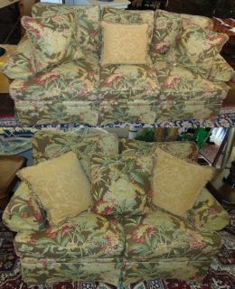 "2 Henredon Upholstered Matching Sofas 2 (like new) Henredon Upholstered Sofas with Tropical Print. 1 Love Seat & 1 Sofa. Love Seat measures 67"" wide x 42"" deep. Sofa is 90"" wide x 42"" deep. Overall condition is Excellent. No Damage. Several Shipping Options Available. Starting Bid $400 for both. Auction Estimate $450 - $600."
