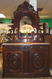"""Antique Renaissance Marble Top Walnut Sideboard Antique Renaissance Revival Carved Walnut Sideboard with Mirror and Marble Top. Circa 1880. Measures 89"""" tall x 53"""" wide x 19"""" deep. Condition is good. Minimal wear typical from age. Several Shipping Options Available. Breaks down for shipping.  Serious inquires Please contact us. Click on Picture to see additional photos."""