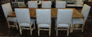 """Rustic Dining Table & 8 Chairs Awesome, Rustic Dining Table & 8 Upholstered Dining Chairs. Table measures 66"""" long x 42"""" wide x 30"""" tall. Additionally 2 leaves 18"""". Total of 102"""" long. Chairs are all 42"""" tall x 20"""" wide x 20"""" deep. Condition is very good to excellent. No Damage. Several Shipping Options Available.  Serious inquires Please contact us. Click on Picture to see additional photos."""