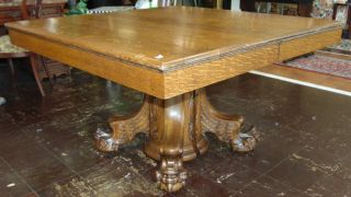 "Antique Golden Oak Pedestal Dining Table Antique Golden Oak Pedestal Dining Table. Circa 19th Century. Measures 30"" tall x 50"" wide x 50"" deep. Includes 4 leaves. Each are 12"" wide. Overall condition is very good with minor wear. No damage. Several Shipping Options Available.  Serious inquires Please contact us. Click on Picture to see additional photos."