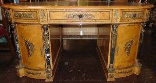 """Egyptian Classic Revival Desk Beautiful Egyptian Classic Revival Desk with Marble & Bronze Mounts and Leather Top. Egyptian made desk in the neoclassical revival style, complete with ormolu neoclassical figures and heads, marble columns. Measures 32"""" tall x 69"""" wide x 35"""" deep. Overall condition is Excellent. No Damage. Several Shipping Options Available. Serious inquires Please contact us. Click on Picture to see additional photos."""