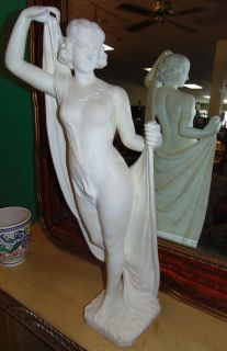 """Antique Carved White Marble Figure by Franceschi Beautiful Antique Carved White Marble Figure of a Woman by Franceschi. Late 19th Century. Base is signed. Measures 31-1/2"""" tall. Overall condition is good. Previously damaged and Professionally repaired (see close-up photos). One finger is missing. Several Shipping Options Available.  Serious inquires Please contact us. Click on Picture to see additional photos."""
