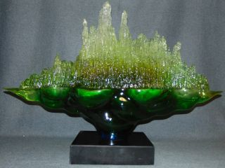 """Contemporary Acrylic Sculpture on Marble Beautiful Modern and Contemporary Acrylic Sculpture on a Black Marble Base. Vibrant Green tinted Acrylic on a thick Black Marble Base. Unsigned. Measures 21"""" tall x 29-1/2"""" wide. Marble base measures 2-1/2"""" tall x 10"""" wide x 7"""" deep. Condition is New, Mint. No Damage. Several Shipping Options Available. Serious inquires Please contact us. Click on Picture to see additional photos."""