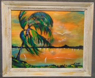 """Original Florida Highwayman Painting by Michael Sears Original, modern-day Florida Highwayman painting by contemporary artist, Micheal Sears. Large Oil on Masonite. Nicely framed. Artist Signed. Measures 20"""" tall x 24"""" wide. Condition is very good. No Damage. Michael Sears (1962- present) is 2nd generation trained by George Buckner Jr. Original member, and personally influenced by the several other members of this art movement with whom he interacted. He remains true to Highwaymen subject, style, materials and outdoor selling methods.  Several Shipping Options Available. Serious inquires Please contact us. Click on Picture to see additional photos."""