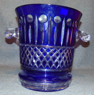 "Cobalt Blue European Cut Crystal Champagne Bucket Cobalt Blue European Cut Crystal Champagne or Ice Bucket. Heavy and Thick Lead Crystal. Measures 10"" tall x 12"" wide at the handles. Condition is New, Mint. No Damage. Several Shipping Options Available. Serious inquires Please contact us. Click on Picture to see additional photos."