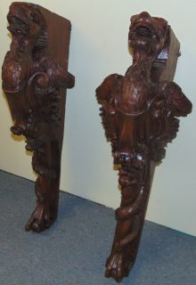 """Pair of Large Architectural Carved Walnut Griffins Pair of Large Architectural Carved Walnut Griffins. 19th century. Each measures 37-1/2"""" tall x 12"""" wide x 14"""" deep. Overall condition is fair to good. Shows age. Several Shipping Options Available. Starting Bid $50. Auction Estimate $500 - $600."""