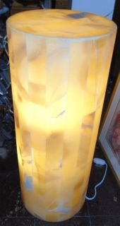 """Contemporary Onyx Stone Backlit Pedestal Lamp Contemporary Onyx Stone Backlit Pedestal Lamp. Art Deco Style. Measures 29-1/2"""" tall x 11-3/4"""" wide. Condition is New, Mint. No Damage. Several Shipping Options Available. Starting Bid $50. Auction Estimate $300 - $400."""