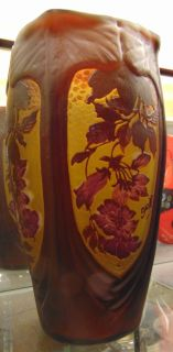 "Galle Style Cameo Glass Vase  Galle Style Cameo Glass Vase. Floral Pattern. Measures 12"" tall. Signed Galle. Condition is Excellent. No Damage. Several Shipping Options Available. Starting Bid $50. Auction Estimate $400 - $500."