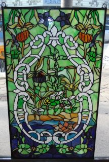 """Custom Stained Glass Hanging Panel Custom Stained Glass Hanging Panel. High Quality. Measures 34-1/2"""" tall x 20-1/2"""" wide. Condition is New, Mint. No Damage. Several Shipping Options Available. Starting Bid $50. Auction Estimate $120 - $150."""
