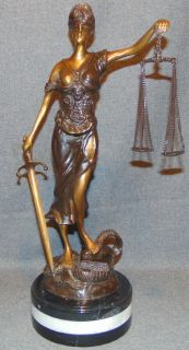 """Bronze Scales of Justice Sculpture on Marble Bronze Scales of Justice Sculpture on a thick Triple Marble Base. She measures 18-1/2"""" tall. Condition is New, Mint. No Damage. This Sculpture is made entirely from Bronze with a Marble Base. Starting Bid $50. Auction Estimate $200 - $300."""