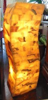 """Large Onyx Stone Backlit Pedestal Lamp Tall, Contemporary Onyx Stone Backlit Pedestal Lamp. Art Deco Style. Measures 39"""" tall. Top is 10 deep x 12"""" wide. Condition is New, Mint. No Damage. Several Shipping Options Available. Starting Bid $50. Auction Estimate $350 - $500."""